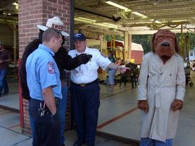 Meeting of the minds at the 2010 Open House. Member Joe Larsen, Jr., Smokey the Bear, HHVFD Cheif Dennis McDonald, McGruff the Crime Dog at the 2010 Open House